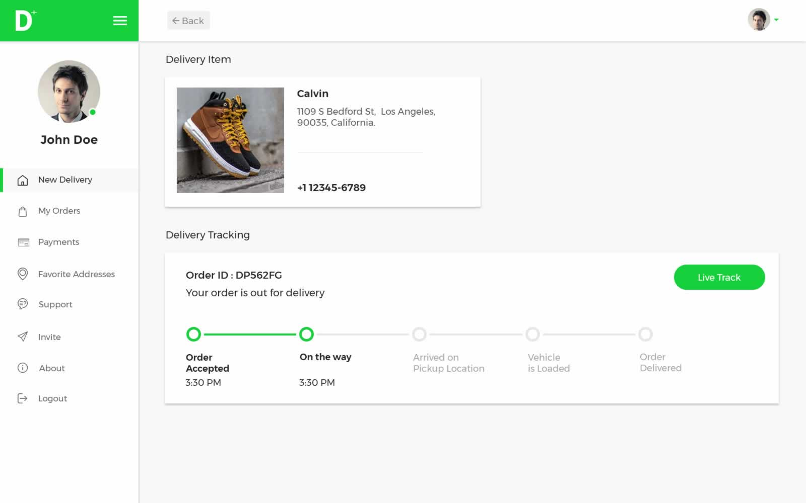 Submit your request! A Delivery Plus agent will arrive soon to pick up your package and you can monitor the progress of your shipment live.